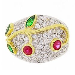 14k Yellow Gold 1.49ctw Emerald Ruby And Diamond Pave Leaf And Vine Ring Size 6.5