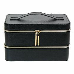 Lancome Two Layers Cosmetic Synthetic Leather Train Case Box Organizer SemiGloss