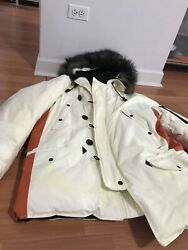 Polo Jeans Co. New White And Yellow Fade Ladies Down Coat