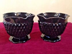 2 Tiara Cameo Black Candlestick Holders Pressed Glass Diamond Vintage Mid Centry