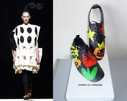 Comme Des Garcons New In Box Runway Hand Painted Leather Shoe Covers M