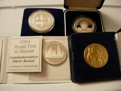 Ex-rare Lot Of 4 Silver Proof Coins Visit To Russia 2 Queens + 2 Patriarch