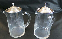 Vintage Mid Century Small Serving Pitchers Oil And Vinegar W Sterling Silver Tops