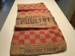 Vintage Advertising Burlap Bag Purina Poultry Chows Used 50lbs Empty