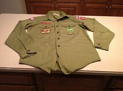 Vintage Boy Scouts Of America Long Sleeve Shirt Green W/ Patches Uniform