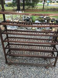 Antique Shoe Rack Display Oak Wood Casters