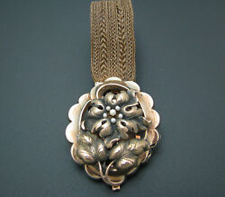 C096 Vintage 10kt Mourning Woven Hair Bracelet With 10kt Flower And Pearl Center