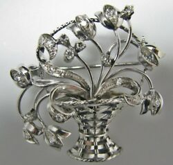 H155 Gorgeous Basket Of Flowers In 14k White Gold Pin/brooch With Diamonds