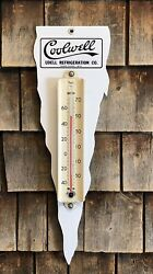 Rare Early Coolwell Udell Refrigeration Porcelain Taylor Thermometer Sign Diecut