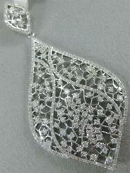 Modern 1.95ctw Diamond 14k White Gold Hanging Abstract Marquise Pendant P59552wp