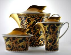 Versace By Rosenthal Barocco Teapot, Creamer And Sugar Bowl Set