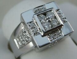 Modern Round Diamond 14kt White Gold Square Cluster Cocktail Ring 12mm R02229dw