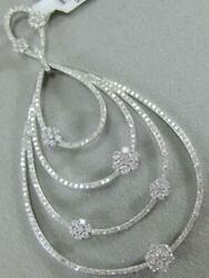 Modern Pave Diamond 14k White Gold Cluster Studded Pear In Pear Pendant 2100069
