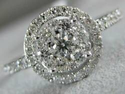 Modern Pave Diamond 18kt White Gold Round Halo Cocktail Engagement Ring R003087