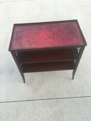 Antique Mahogany Wood Night Stand Table Leather Top Lattice Side Duncan Phyfe