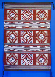 Mint Condition Navajo Rug Wide Ruins Multi-patterned Banded Rug C1980 36 X 52