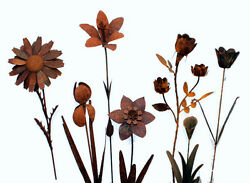 Metal Iron Flower Stakes Set Of 7 Rusty Garden Yard Home Decor Vintage Style