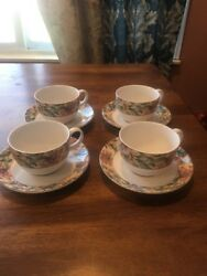 Set Of 4 Royal Doulton Everyday Jacobean Cup And Saucer Sets Vgc