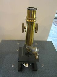 Optical Antique Vintage Microscope Brass Bausch Lomb As Is Optics Lobby Ii