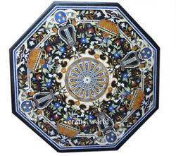 48 Inches Octagonal Marble Inlay Antique Coffee Table Top Pietra Dura Marquetry