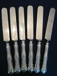 Set 6 Dinner Knives Vintage Mh Wilkens And Sohne .800 Silver Chippendale Pattern