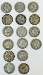 16 Coins One Silver Pesetas Alfonso Xiii King Of Spain 1903.1904