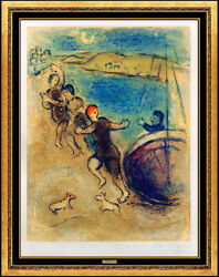 Marc CHAGALL Color Lithograph Hand Signed Jeunes Gens Methymne Daphnis Chloe Art