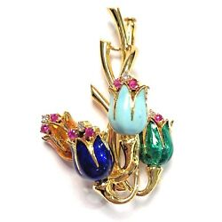 18k Yellow Gold Enameled Flowers Ladies Pin With Diamonds And Pink Sapphires