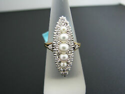 A807 Stunning Vintage Pearl And Diamond Ring In 18k Yellow Gold Size 6