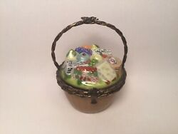 Limoges Box Beautiful Cheese And Fruit Basket Peint Main France Vintage