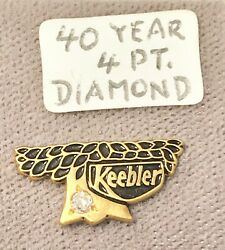 Keebler 40 Year Anniversary Gold Plated 4pt Diamond Pin Rare Collectible