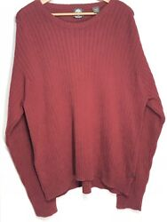 Heavy Ribbed Crew Neck Sweater Red Size 2xl Xxl Tall 2xlt Knit A42