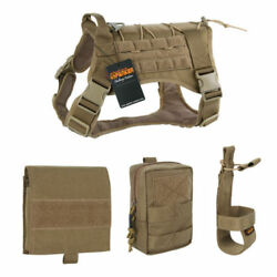 Tactical Dog Clothes Suit Training Molle Vest Harness 2 Pouches and Kettle Bag M