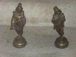 Two Original Antique Silverplate Over Bronze Statuettes By Famous Lalouette