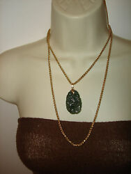 Vintage Green Jade Engraved Pendant 14k Gold Double Wheat Chain Necklace 40 Set