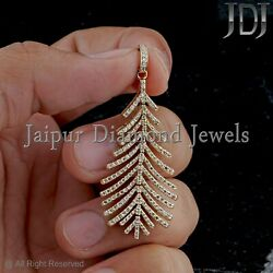 Natural Pave White Diamond Solid 14k Yellow Gold Beautiful Leaf Pendant Jewelry