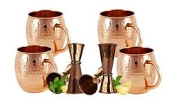 Moscow Mule Mugs Gift Set 100 Pure Hammered Copper With 4 Jigger Cocktail Shot