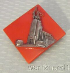 1937 Paris Expo Art Deco Architectural Pin Red Czech Glass Silver Overlay