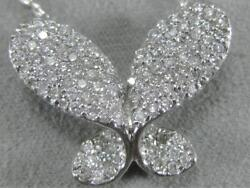 Estate Modern Pave .9ctw Diamond 14k White Gold Puff Butterfly Pendant 16 P259n
