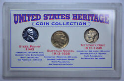 United States Heritage Coin Collection Steel Penny, Buffalo Nickel, Mercury Dime