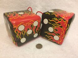 Hot Rat Rod Flamed Dice - Black Red Yellow And White - One Pair