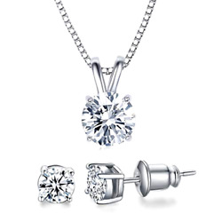 18K White Gold Plated CZ Jewelry Set 2 Ct CZ Solitaire Pendant Necklace Earrings