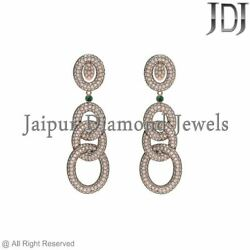 Dazzling Pave Diamond Emerald 14k Rose Gold Dangle Earrings Antique Jewelry New
