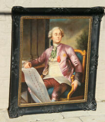Antique 19th French Oil Panel Painting Portrait Noble Officer Man Rare Top