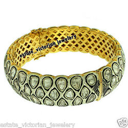 9.90cts Genuine Antique Cut Diamond Sterling Silver Vintage Style Bangle Jewelry