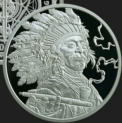 1oz Silver Proof Peace Pipe Cannabis .999 Pure Weed Pot Sioux Navajo Indians