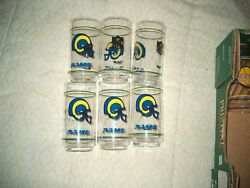 Vintage Los Angeles Rams Mobil Gas 1980's Drinking Glasses - Total Of 7