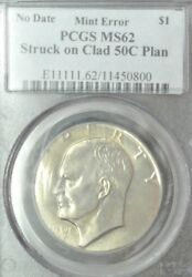 1971 Or 2-d Pcgs Ms62 Ike Dollar Struck On 50 Cent Planchet Clashed Dies And More