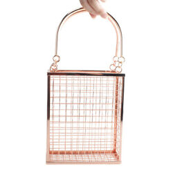 fashion metal bags women handbags clutches evening bag hollow cage banquet totes $35.70
