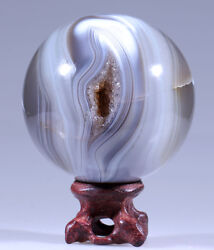 2.9and039and039 Polished Phantom Dendritic Banded Agate Geode/rosewood Stand M376